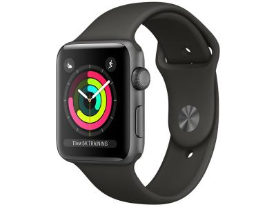 AppleWatch Series 3 GPS, 38mm Space Grey Aluminium Case with Black Sport Band / MTF02