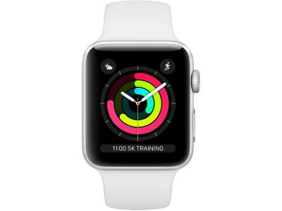 AppleWatch Series 3 GPS, 38mm Silver Aluminium Case with White Sport Band / MTEY2