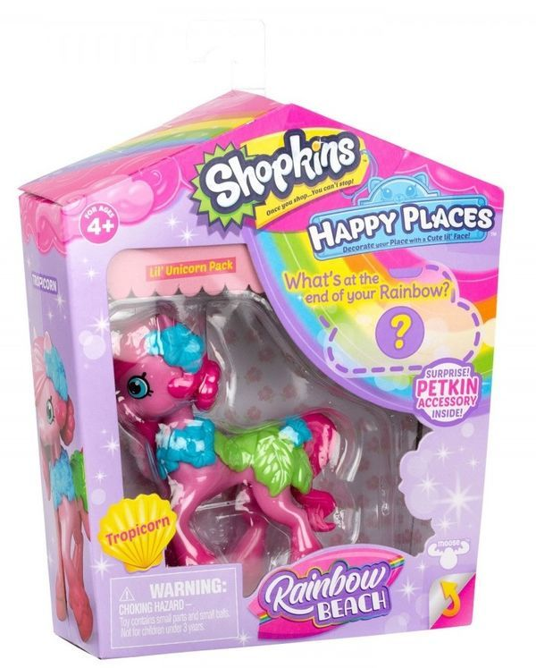 Moose: Shopkins. Happy Places Rainbow Beach Lil' Unicorne - Tropicorn