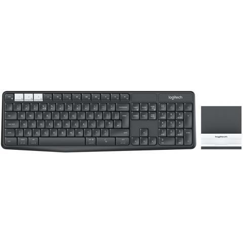 LOGITECH K375s Multi-Device Wireless Keyboard and Stand Combo - GRAPHITE/OFFWHITE - RUS - BT - INTNL