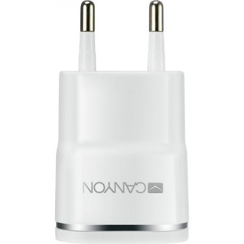 CANYON Universal 1xUSB AC charger (in wall) with over-voltage protection, Input 100V-240V, Output 5V-1A, CANYON Universal 1xUSB AC charger (in wall) with over-voltage protection , Input 100V-240V, Output 5V-1A, white glossy plastic + silver stripe), 64.5*