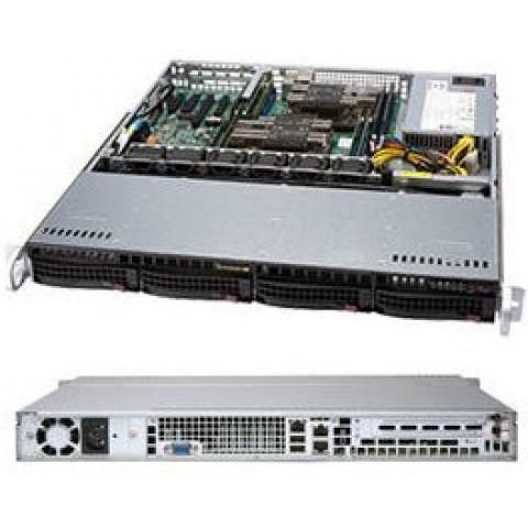 """Supermicro 1.1U Chassis for motherboard support size: (12"""" x 10"""") (9.6"""" x 9.6""""), 4 x 3.5"""" hot-swap SAS/SATA drive bay with SES2, 1U 4-Port 12Gbps Backplane Support 4x3.5"""" SAS3/SATA3 HDD/SSD"""