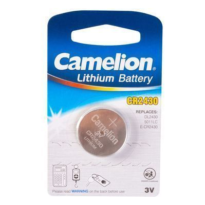 Батарейка, CAMELION, CR2430-BP1 Lithium Battery, CR2430, 3V, 220 mAh, 1 шт.