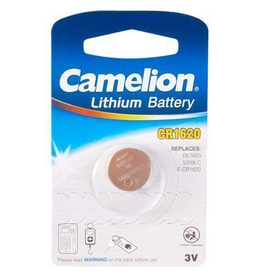 Батарейка, CAMELION, CR1620-BP1, Lithium Battery, CR1620, 3V, 220 mAh, 1 шт.